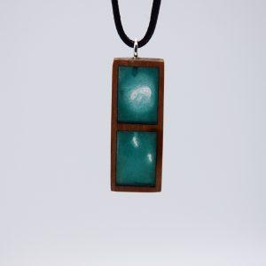 pendentif bois resine en alisier 2 rectangle