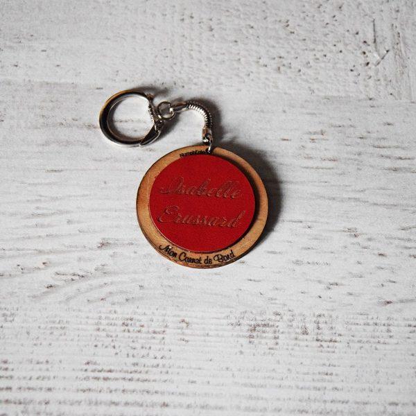 porte clé bois et cuir ou simili assorti au classeur