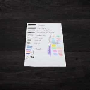 test tenu feuille stylo marqueur feutre reco